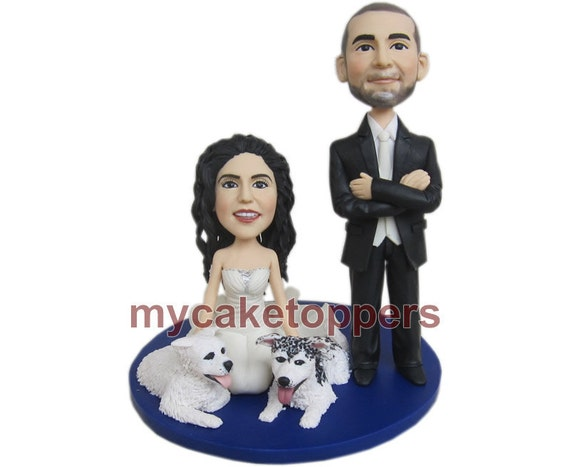 customized wedding cake toppers, wedding cake toppers with 3 pets for cassey