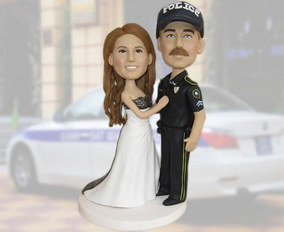 police wedding cake topper/wedding cake topper/hand made/custom police cake topper/personalized police cake topper/police officer