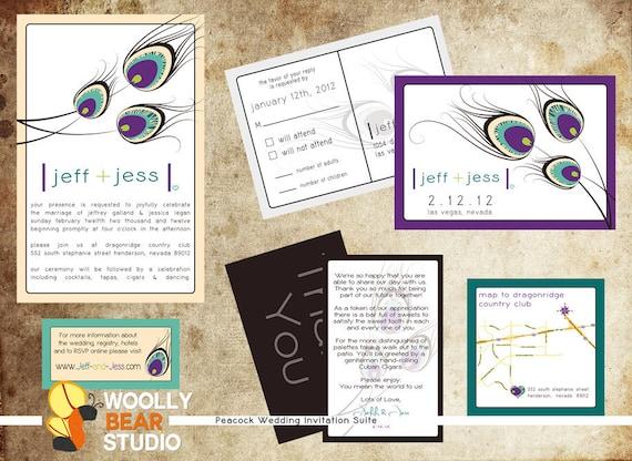 Wedding Invitation Registry Wording: DIY Printable Peacock Wedding Invitation Suite By