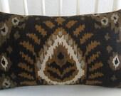 Black ikat - tribal - 8x16 - pillow cover
