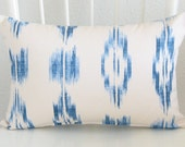 SALE - Ikat pillow - 12x18 -  blue pillow cover