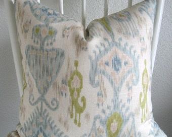 Robert Allen Khanjali Glacier light blue green ivory decorative pillow cover