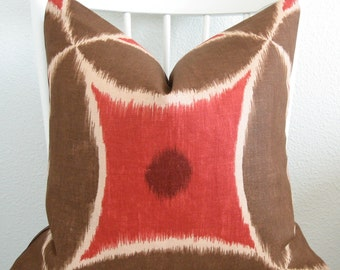 Ada Redwood - red medallion - suzani ikat pillow cover