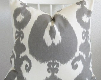 Pillow cover gray off white ikat throw pillow cover decorative pillow cover throw pillow cover