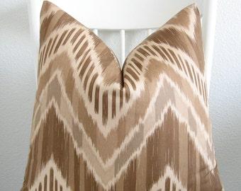 Duralee Makeda 16x16 ikat zig zag brown throw pillow cover