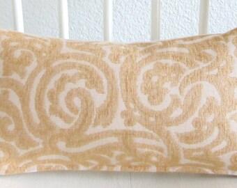 Scroll swirl light gold 12x18 lumbar pillow cover