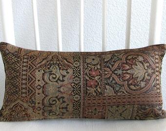 Multi textile brown - 8x16 - mini lumbar pillow cover - Persian damask cushion cover