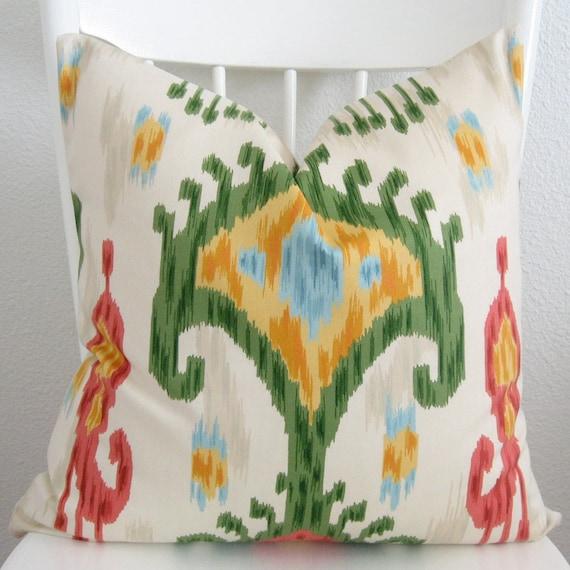 Decorative pillow cover - Ikat pillow - 20x20 - Robert Allen Khandar - Ikat - White - Red - Green - Yellow - Same Fabric on Both Sides