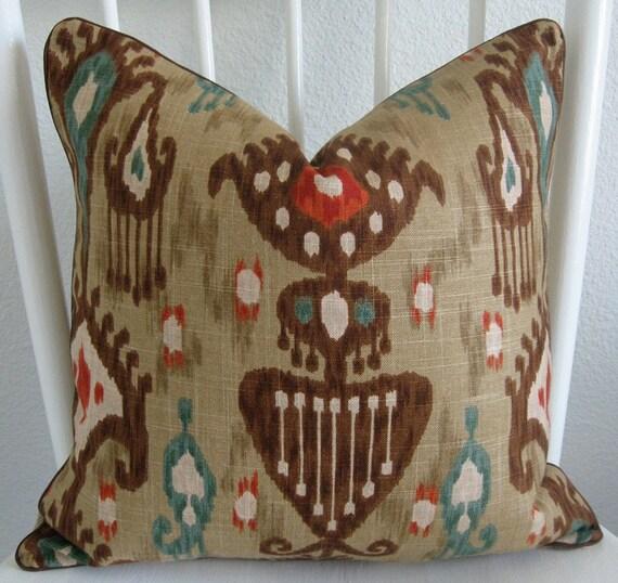 Ikat Throw Pillows Etsy : Items similar to Decorative pillow cover - Throw pillow - Ikat pillow - 18x18 - Robert Allen ...