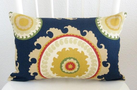 Ponderosa Navy Blue suzani lumbar pillow cover decorative pillow cover