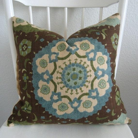 Decorative pillow cover- Throw pillow -Suzani pillow - 20x20 - Brown - Blue - Green - Designer fabric