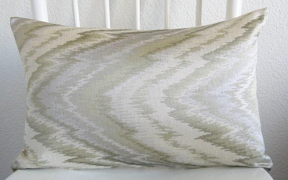 Decorative pillow - lumbar pillow - pillow cover - 12 x 18 - cream - silver - light green - flamestitch - ikat -