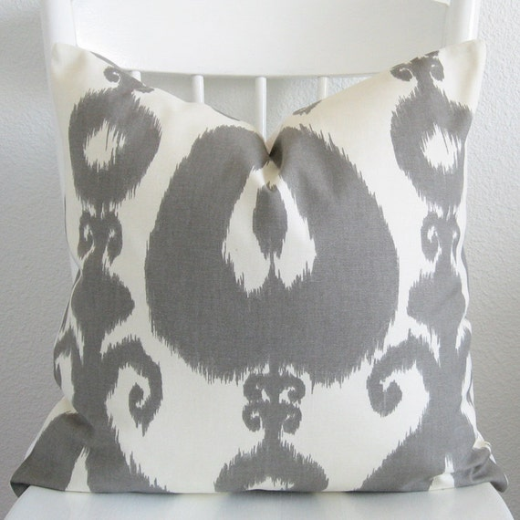 Pillow cover gray off white ikat throw pillow cover decorative