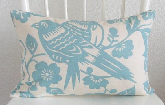 Decorative pillow cover - Throw pillow -  12x18 - Ivory - Light blue - Bird - Botanical - Thomas Paul - Designer fabric