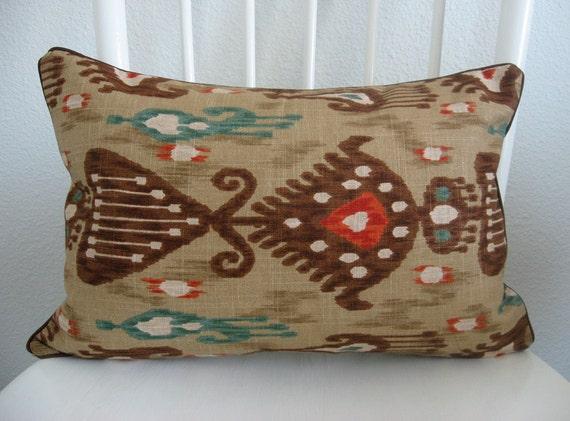 Decorative pillow cover - lumbar pillow - 12x18 - bohemian ikat - brown - red - turquoise - designer fabric