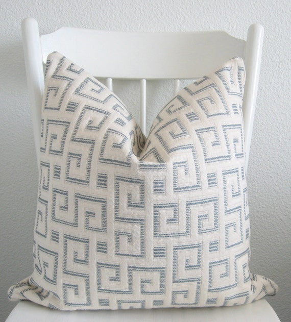 Decorative pillow cover - Throw pillow  - 18x18 -White - Light blue - Greek maze