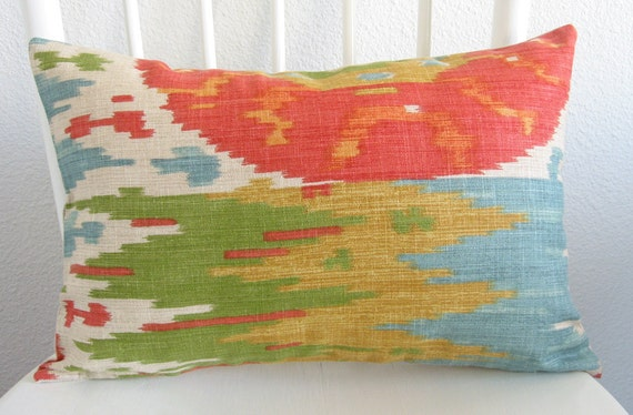 Decorative pillow cover - lumbar pillow - 12x18 - multi color - red - turquoise - green - gold - ikat - medallion