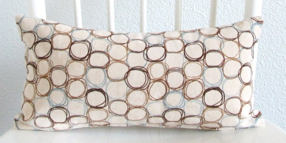 Decorative pillow cover - Lumbar pillow - 8x16 -  Ivory - Blue - Brown - Circles - Modern - Geometric - Mini Lumbar - Ships Within 24 hrs