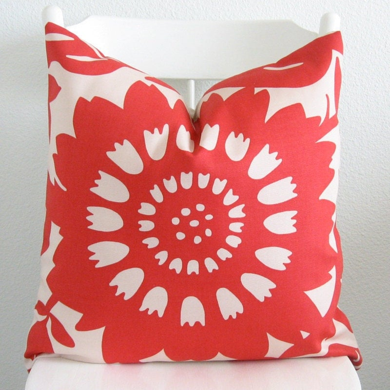 Decorative pillow cover Throw pillow 20x20 Red Beige