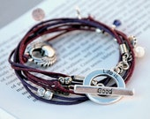 Life is good bracelet with heart charm