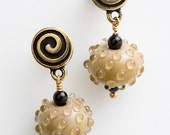 Earrings lampwork glass, neutral nougat colored, go with everything