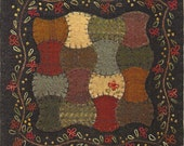 Primitive Folk Art Wool Applique Pattern:  APPLE ORCHARD