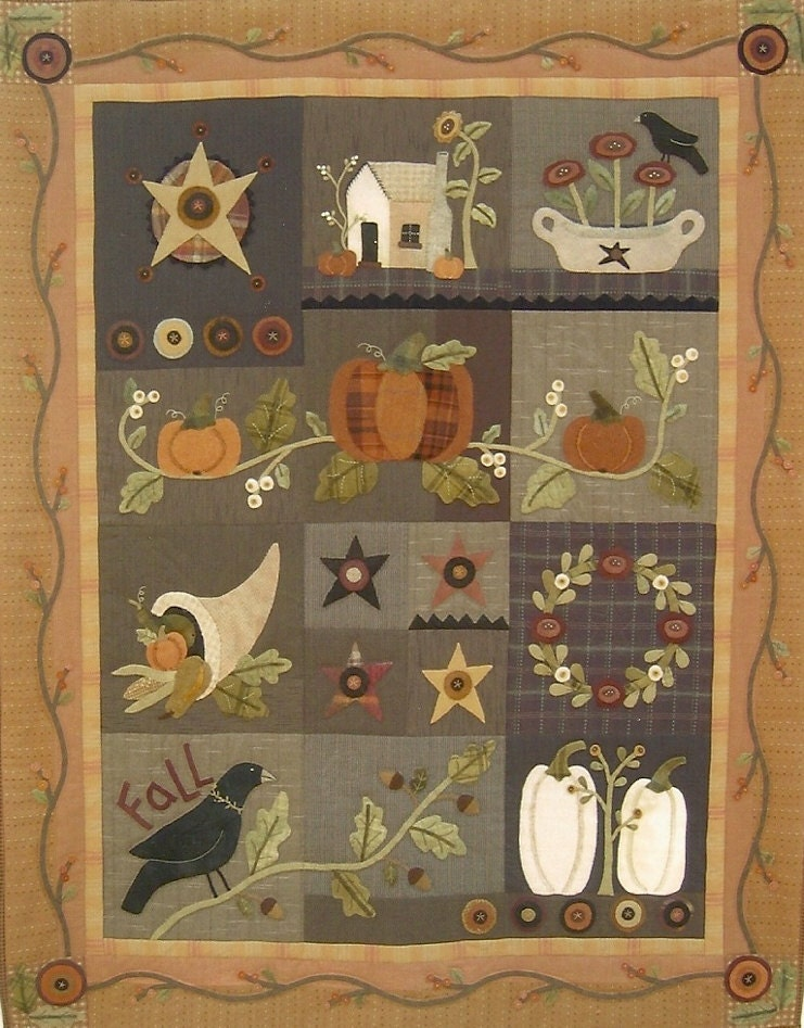 Primitive Folk Art Wool Applique Quilt Pattern by PrimFolkArtShop