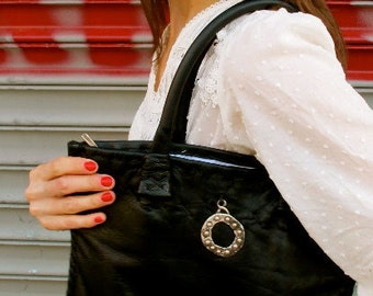 Handsewn, Limited Edition, Small Black Leather Tote with a Sterling Silver 925 Infinity Circle, Reduced