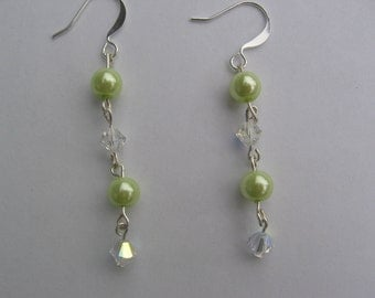 Lime Green Pearl and Swarovski Earrings