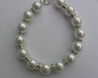 White Pearl and Rhinestone Bracelet