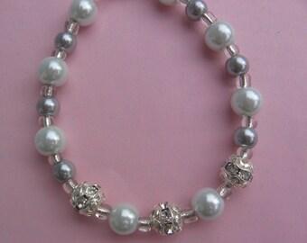 Silver Pearl Bracelet With Rhinestones