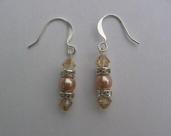 Champagne Swarovski and Pearl Earrings