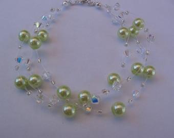 Three Row Pearl and Swarovski Bracelet