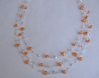 Orange Freshwater Pearl Swarovski Necklace