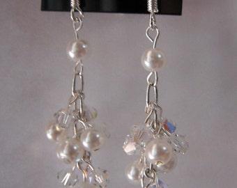 Swarovski Crystal and Pearl Cluster Earrings