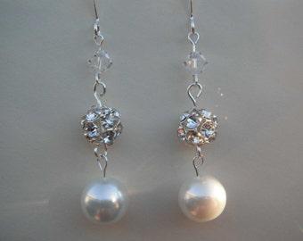Rhinestone and White Pearl Crystal Earrings