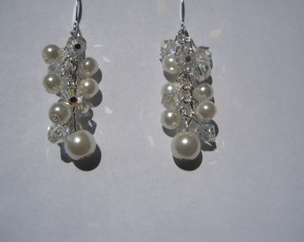 Ivory and Swarovski Crystal Cluster Earrings