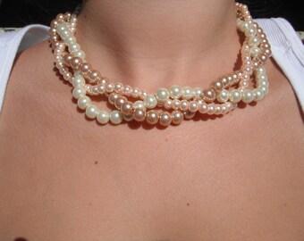 Twist Pearl Necklace Etsy