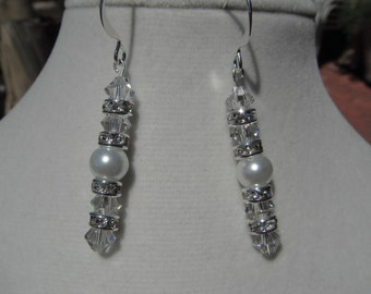 White Pearl and Swarovski crystal and Rhinestone Earring