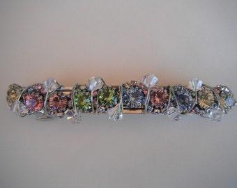 Multi Colored Swarovski Crystal Hair Barrette/Clip