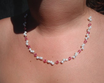 Pink Swarovski Crystal and White Pearl Necklace
