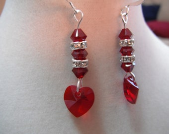 Red Heart Swarovski Earring