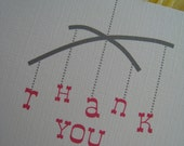 Mobile Baby Shower Thank You A2 Flat Note Cards & Envelopes (Set of 10)