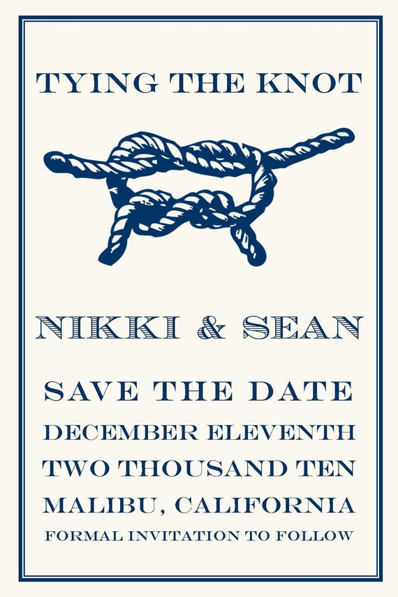 items similar to tying the knot save the date wedding