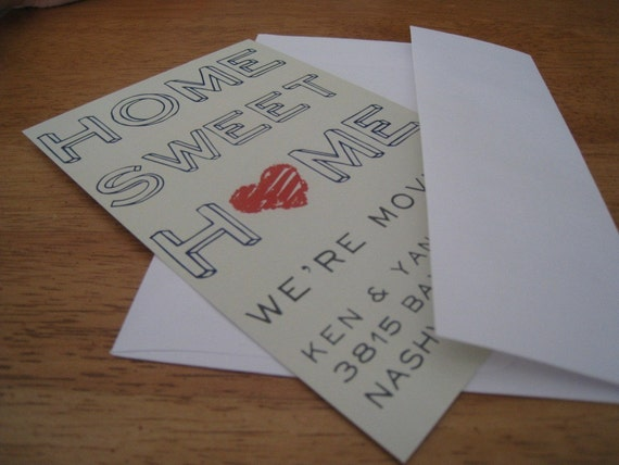 HOME SWEET HOME (With Heart) Moving Announcement or Postcard
