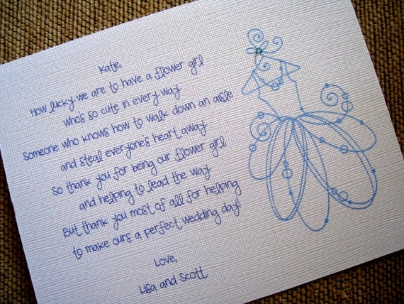 Thank You For Being My Flower Girl Card (Poem and Dress)