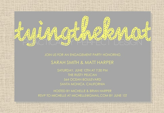 TYING THE KNOT Engagement Party Invitation (Rope Design) Digital Design Or Printed