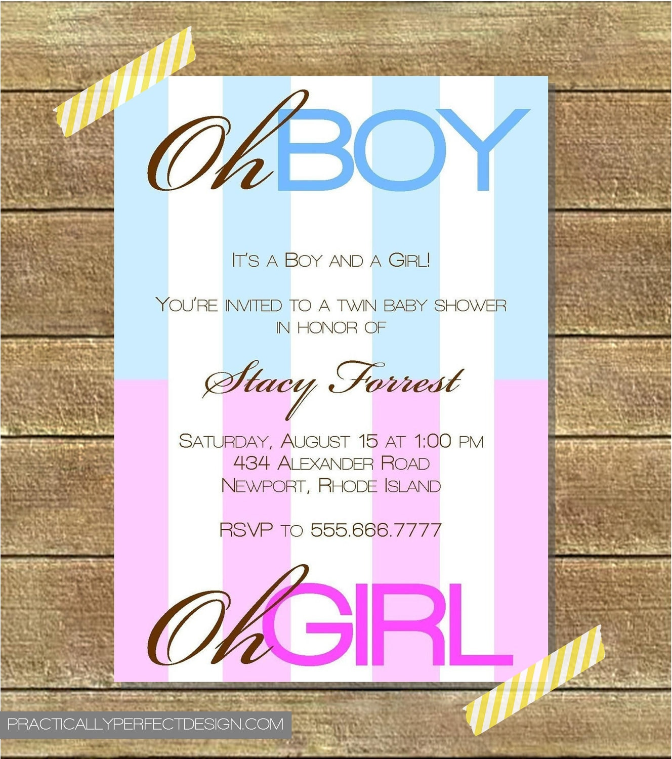 Baby Shower Invitations Wording For Boys: Twin Baby Shower Invitation Boy AND Girl