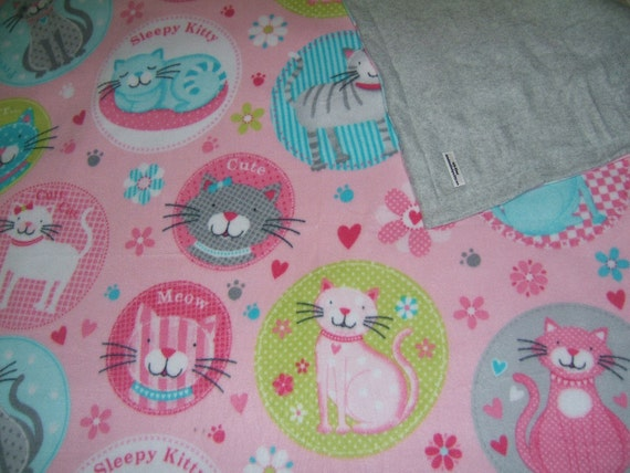 """Large warm pink sleepy kitty 2 layer fleece blanket 65""""x47"""" For Adults, Children, toddlers babies READY TO SHIP"""