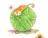 "Custom pet portrait - original watercolor illustration - cute pet illustration - pet art made to order - 4"" x 4"""
